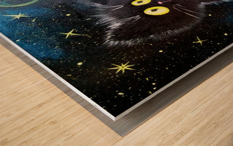 Черный кот Wood print