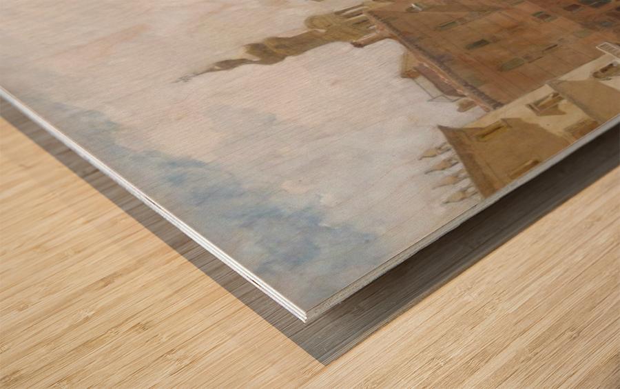 Landscape near a bridge Wood print
