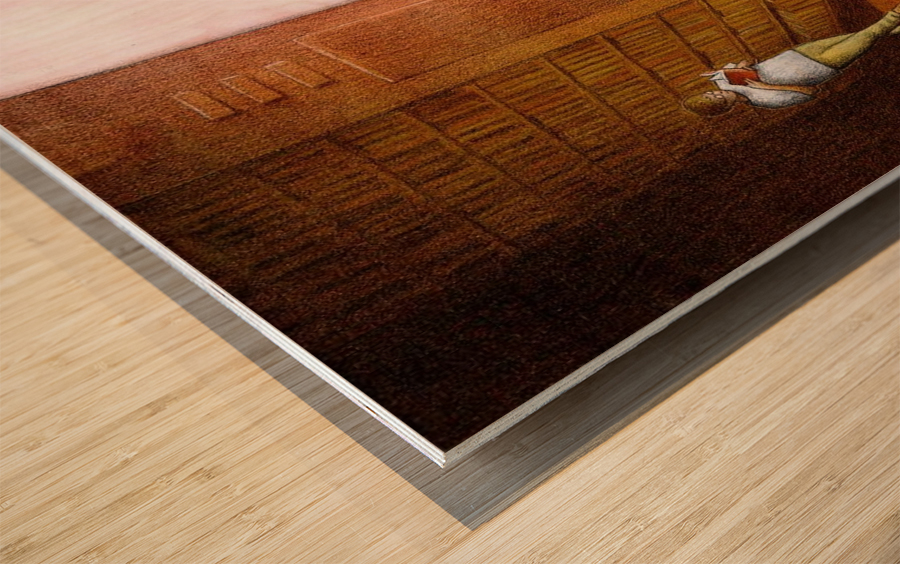 TV and Books Wood print