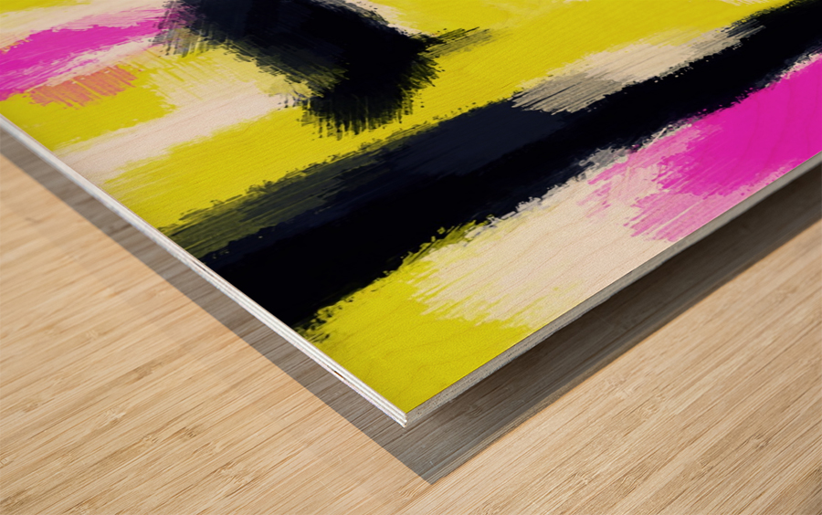 pink yellow and black painting abstract with white background Wood print