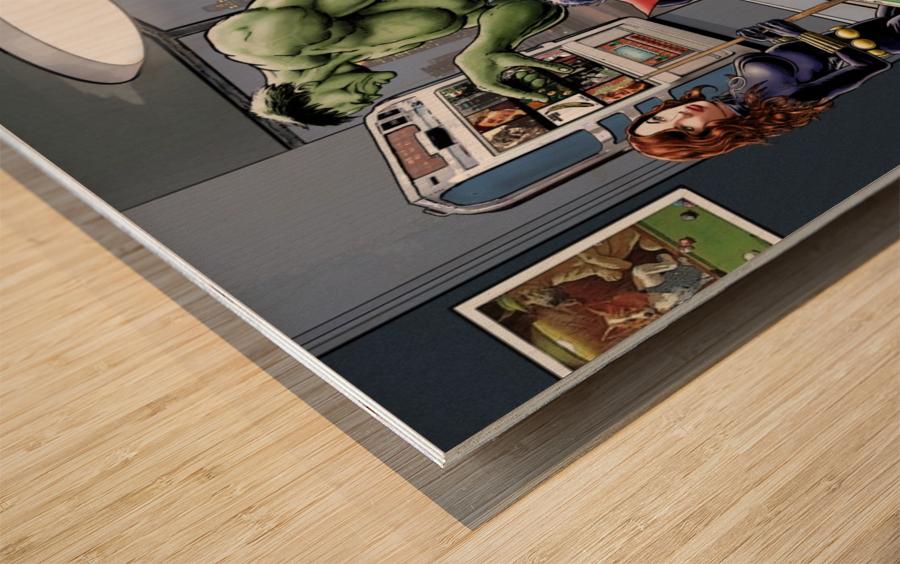 Afterhours: Marvel Superheroes Relax  Playing Pool featuring X-Men & Avengers, Wolverine, Spider-Man, Black Widow, Nightcrawler, Iron Man and Hulk Wood print