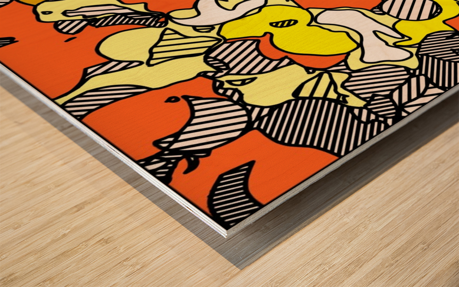 psychedelic drawing and painting abstract in orange and yellow Wood print