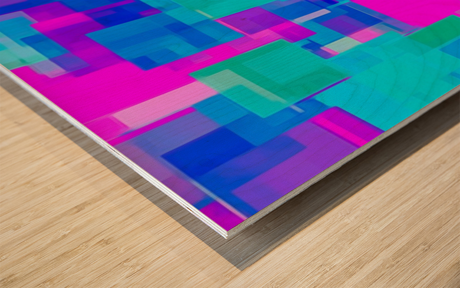 pink blue and green geometric square abstract background Wood print