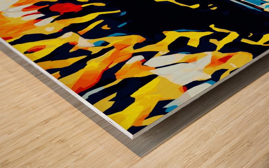 summer beach sunset geometric pattern abstract Wood print