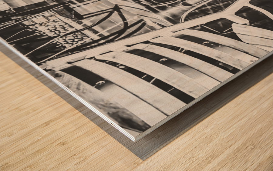 outdoor chairs in the city in black and white Wood print