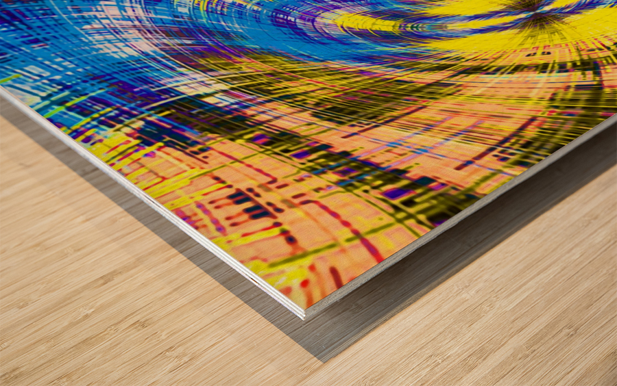 geometric psychedelic splash abstract pattern in blue and yellow Wood print