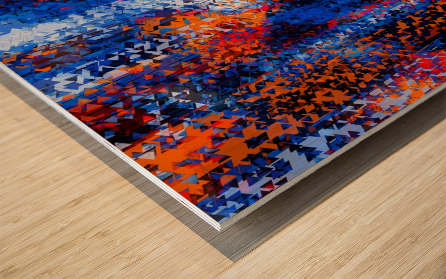 psychedelic geometric polygon shape pattern abstract in blue red orange Wood print