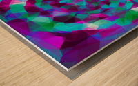 psychedelic geometric polygon pattern abstract in pink purple blue Wood print