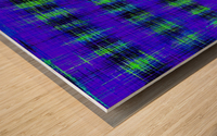 plaid pattern abstract texture in blue green black Wood print