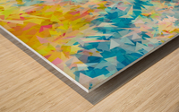 psychedelic geometric triangle abstract pattern in blue pink yellow Wood print