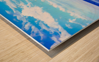blue ocean view with blue cloudy sky in summer Wood print