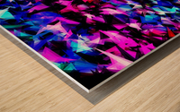psychedelic geometric triangle polygon abstract pattern in pink blue black Wood print