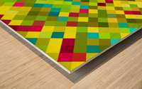 geometric square pixel pattern abstract in yellow red green blue Wood print