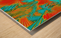 closeup palm leaf texture abstract background in orange blue green Wood print