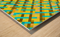 geometric pixel square pattern abstract background in yellow blue brown Wood print
