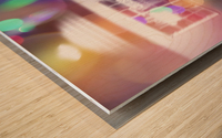 restaurant in the city with the colorful night light bokeh abstract Wood print