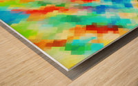psychedelic geometric pixel abstract pattern in blue green red orange Wood print