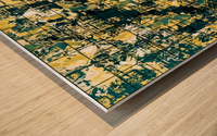 psychedelic geometric square pattern abstract background in green and yellow Wood print