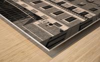 B&W Building Corner Figueroa and 6th Street Wood print
