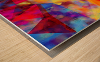 vintage psychedelic triangle polygon pattern abstract in orange yellow red blue purple Wood print