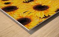 Sunflowers Field Watercolor Painting by Irina Sztukowski Wood print