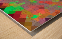 geometric square pixel pattern abstract in green orange red Wood print