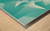 Bluish Trendy Triangle Art Wood print