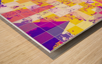 geometric square and triangle pattern abstract in pink yellow blue Wood print