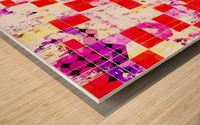 geometric circle and square pattern abstract in red pink yellow Wood print