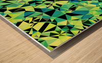 geometric triangle pattern abstract in green blue black Wood print