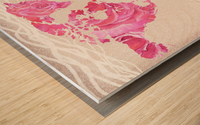 Pink Rose Petals Watercolor Map Of The World Wood print