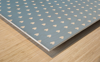 Blue Grey Heart Shape Pattern Wood print