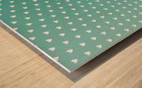 Teal Green Heart Shape Pattern Wood print
