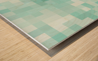 geometric square pixel pattern abstract in green Wood print