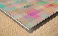 geometric square pixel pattern abstract in blue and pink Wood print