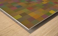 geometric square pixel pattern abstract in green pink yellow Wood print