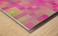 geometric square pixel pattern abstract background in pink blue green Wood print