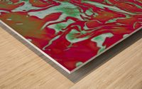 Fire and Ice - turquoise red gradient abstract swirl wall art Wood print