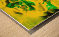 Golden Synchronicities - gold green abstract swirl wall art Wood print