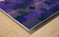 geometric square pixel pattern abstract in purple Wood print
