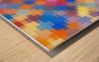 geometric square pixel pattern abstract in pink blue orange Wood print