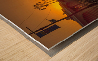 Sunset over the boardwalk Wood print