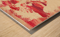 Watercolor Silhouette World Map Pink Terra Wood print
