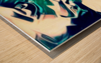 Crystal Spine - green white blue multicolor abstract swirl wall art Wood print
