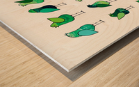 Gossip Birds Green Wood print
