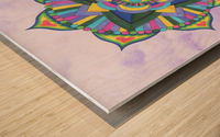 Hand Painted Mandala Watercolor Meditation on Purple Wood print