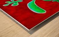 Cactus on Green Table Wood print
