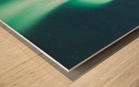 Aurora Borealis Over The Mountain Wood print
