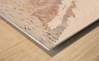 Detailed map of Mexico in neutral watercolor Wood print
