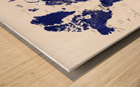 Navy blue watercolor world map with countries and states labelled Wood print